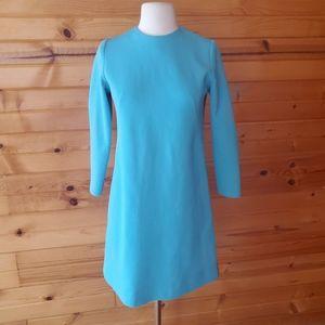 1960s Unlabeled Blue, Tiny Ribbed, Shift Dress